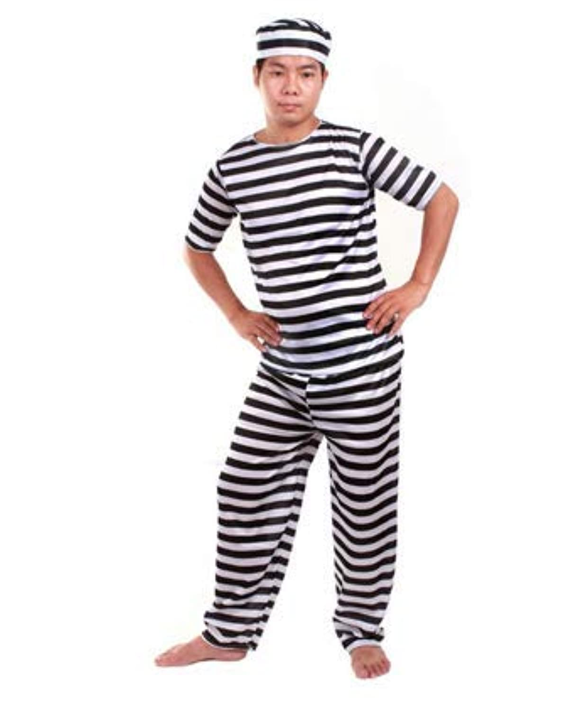する主流奇跡囚人服 衣装3点セット (帽子?服?ズボン) コスチューム メンズ フリーサイズ