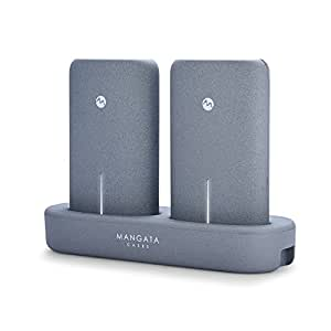 モバイルバッテリー 大容量 計 10000mah 2 x 5000 mah iPhone Android 対応 MANGATA ORBIT ワイヤレス 充電 パワーバンク 2個 セット ダブル チャージャー 軽量 10000 急速 充電器 [グラファイト]