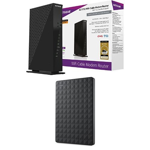 NETGEAR AC1750 Wi-Fi DOCSIS 3.0 Cable Modem Router (C6300)  Seagate Expansion 1TB Portable External Hard Drive USB 3.0 (STEA1000400) [並行輸入品]