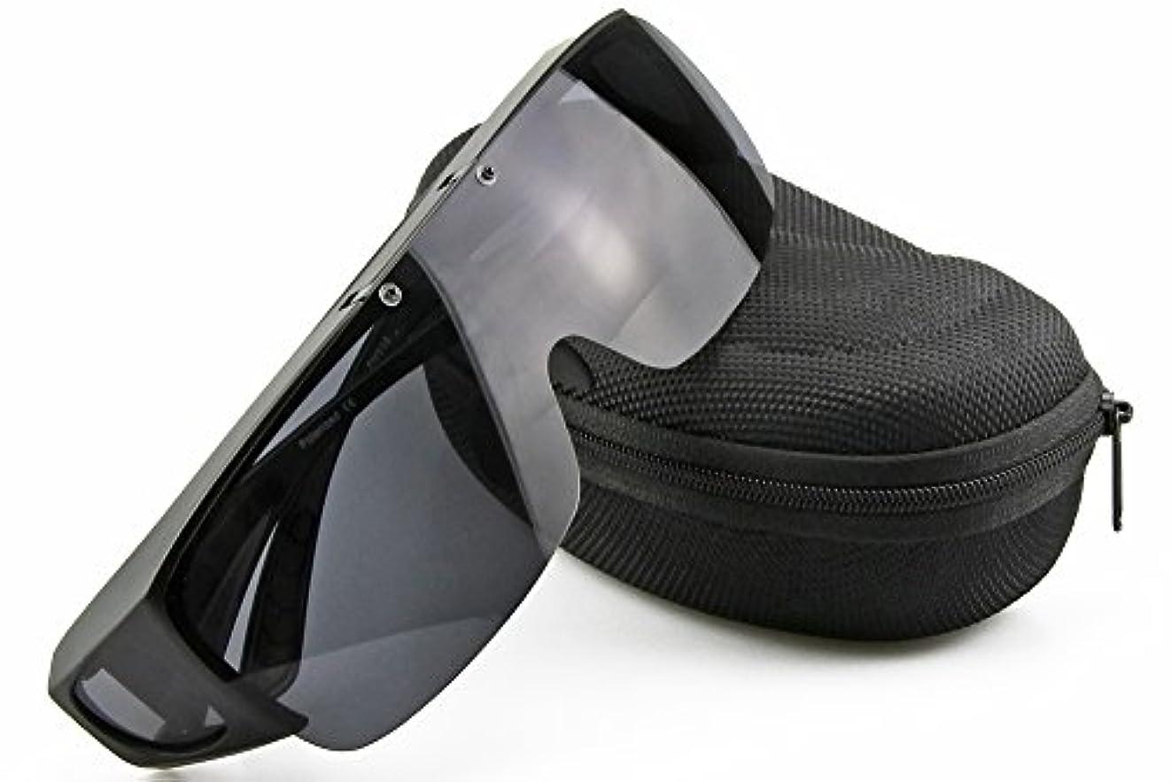 伝説トランク達成可能偏光オーバーグラス 偏光サングラス 眼鏡 の上からかけられる 跳ね上げ式 ブラック