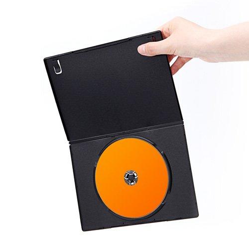 『サンワダイレクト DVDケース スリム トールケース 100枚 7mm厚 1枚収納 ブラック 200-FCD039BK-100』の4枚目の画像