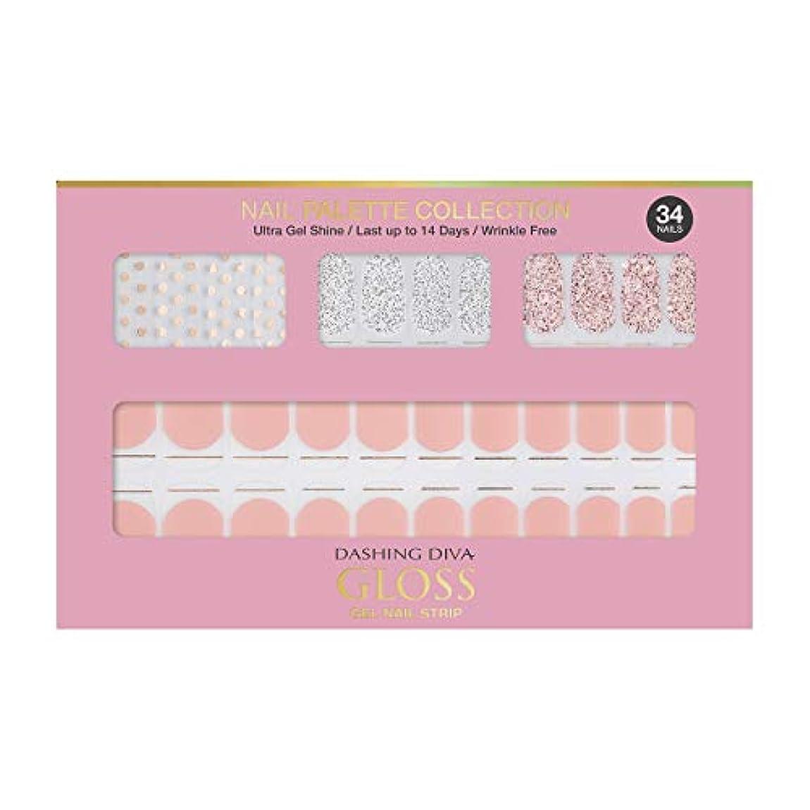 注入チョーク傷跡ダッシングディバ グロスジェル ネイルストリップ DASHING DIVA Gloss Gel Nail Strip DGNP01-DURY+ オリジナルジェル ネイルシール Rosy #01 Dot Skirt