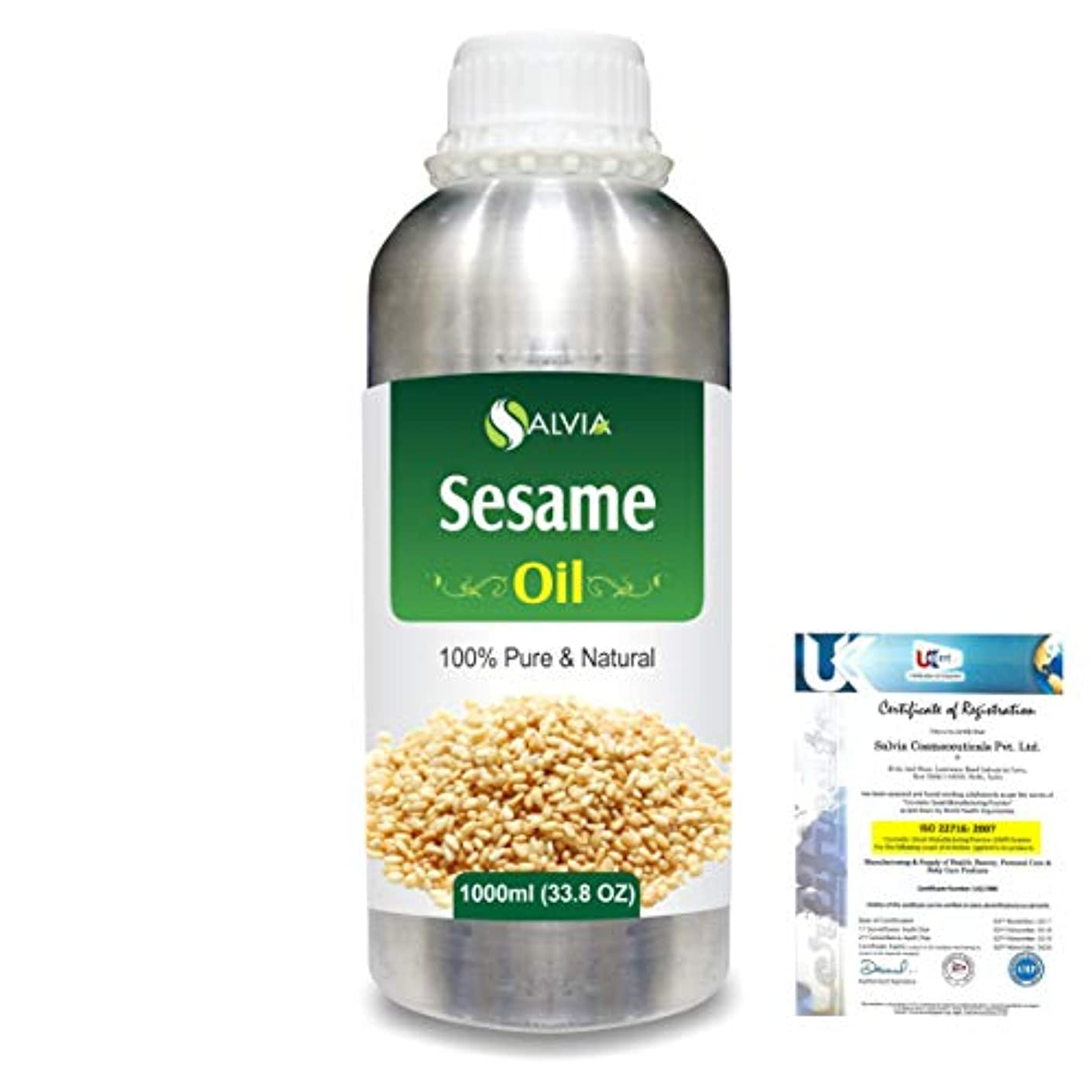 たまに裏切る無実Sesame (Sesamum Indicum) 100% Natural Pure Undiluted Uncut Carrier Oil 1000ml/33.8 fl.oz.