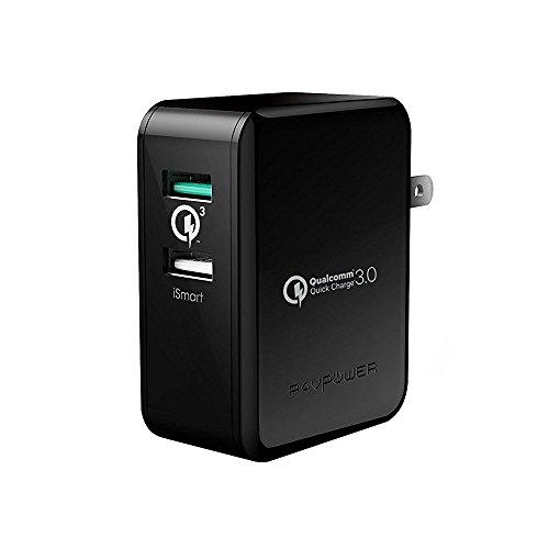Quick Charge 3.0 急速充電器 RAVPower 30W 2ポート USB充電器 ( 急速充電 iSmart出力自動判別 ) Galaxy S8 / Plus / S7 / Edge / Xperia / Nexus 6 / iPhone / iPad スマホ タブレット モバイルバッテリー 等対応 (ブラック)