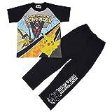男の子 ポケモン 半袖パジャマ Tシャツスーツ ロングパンツ ポケットモンスター サン&ムーン fo-23pj02(ブラック,120cm)