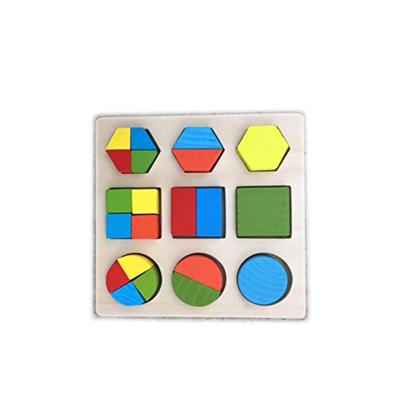 HC木製図形パズルwith円、六角、正方形木製Fraction図形