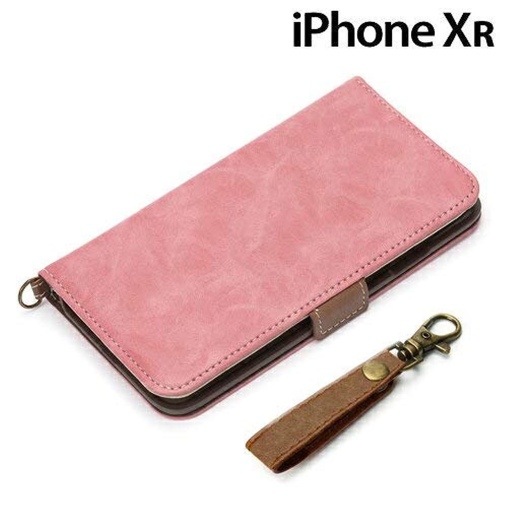 悪いメナジェリー条約PGA iPhone XR用 手帳型 フリップカバー ストラップ付き(ダスティピンク) PG-18YFP03PK
