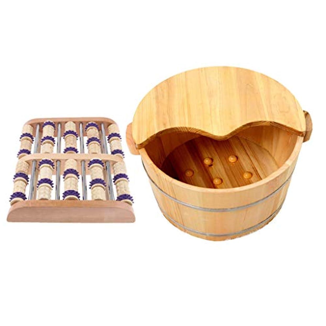 脱臼する預言者有益なD DOLITY ウッド足つぼマッサージ ローラー 手作り フットマッサー 木製の足の洗面台付き 足裏 ツボ押し