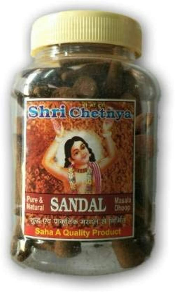 効果的に現代の抽出MNAONLINE1931 Shri Chetnya Sandal Dhoop Cone Jar/Chandan Dhoop Batti - 2 Pcs