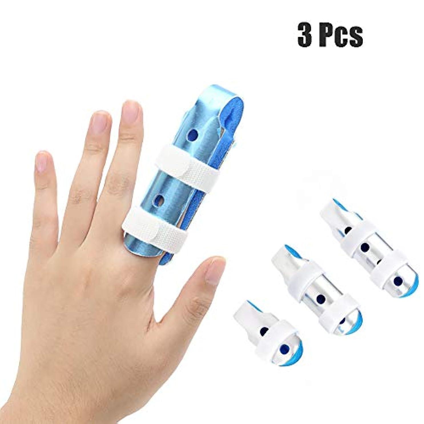 指の添え木、アルミ合金指の骨折の添え木、指の傷害プロテクター、3個