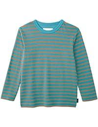 [ベルメゾン] あったか 接結 天竺 長袖 Tシャツ ミントブルー×オレンジボーダー