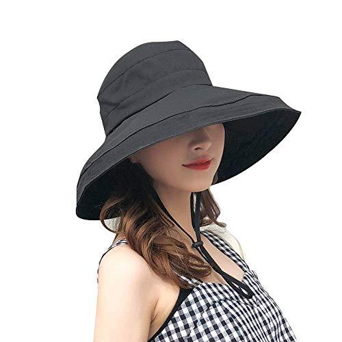 Aomh UVカット帽子 レディースハット つば広 紫外線対策 熱中症予防 日よけ 小顔効果抜群 取り外すあご紐 おしゃれ 旅行用 (ブラック)