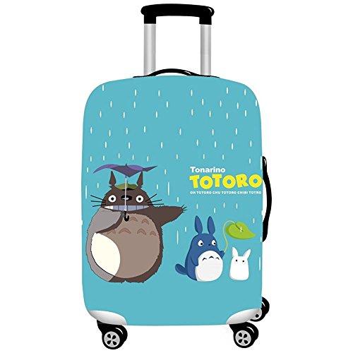 Fishtravel スーツケース カバー 伸縮 保護 洗える おしゃれ 高品質 旅行 海外 夏 キャリーバッグ カバー キズから保護 便利 ジッパー S M L XLサイズ (S, トトロ 雨)