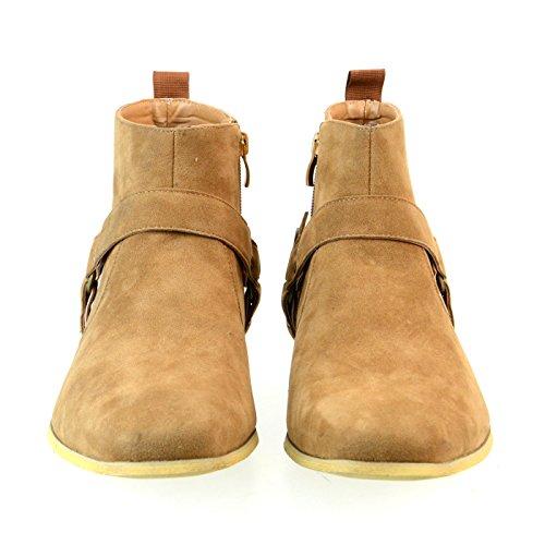 [シュベック] SVEC リングブーツ メンズ カジュアルシューズ プレーントゥ サイドジップ ショートブーツ 紳士靴 ベージュ 茶 41(25.5cm)