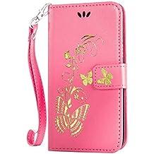 iPhone 6/ iPhone 6S 手帳型 OMATENTI 本革 カバー カードポケット スタンド機能 マグネット式 アイフォン Apple iPhone 6/6S 用 財布型 カバー [全10色] (ピンク)