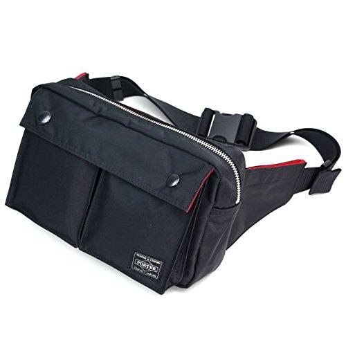 ポーターエルファイン(PORTER L-fine) PORTER×ILS共同企画 ウエストバッグ S(スモール)サイズ Waist Bag Small size ブラック(裏地:レッド) Black(Backing:Red)
