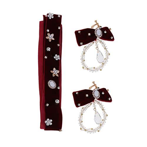 Blesiya Red Party Wedding Hairdress Set Baroque Style Rhinestone Headband Hair Accessories & Crystal Earrings
