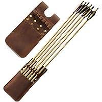 矢ポケット Sorliva アウトドアハンティングアクセサリーのための6個の矢の牛の革アーチェリーの矢の震えるウエストホルダーバッグ