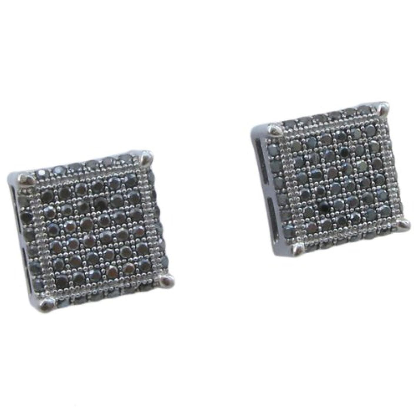 繊毛デモンストレーション優先権メンズ925スターリングシルバーブラック8行正方形イヤリングmlcz122 4 mm厚10 mm幅、サイズ
