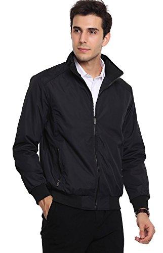 chouyatou Men's Active Lightweight Softshell Zipper Bomber Jacket Large Black