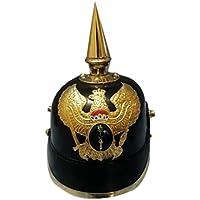 Queen Brass Leather ArmorスパイクヘルメットドイツPickelhaube Prussian標準ブラックゴールド