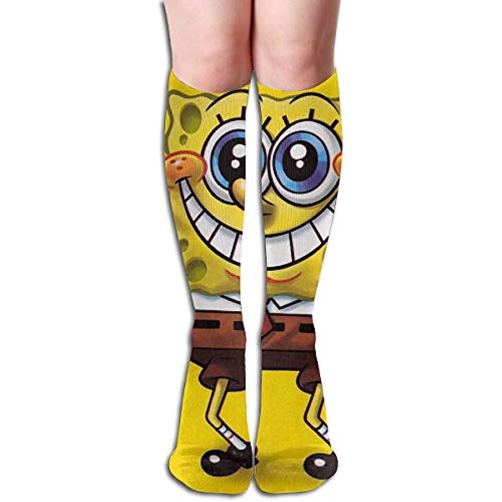 誰も応援するインストラクターqrriyスポンジボブチューブストッキングレディース冬暖かい膝ハイソックスブーツ靴下
