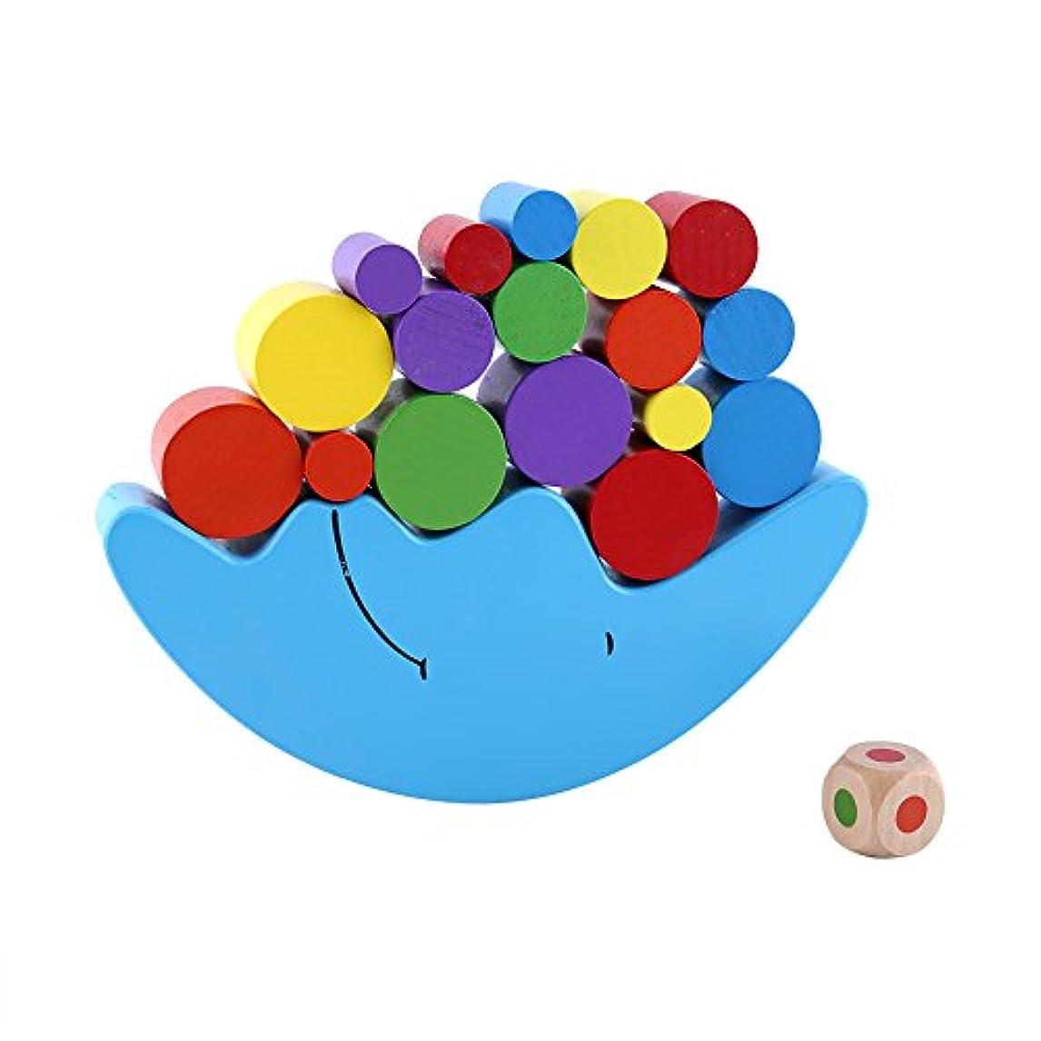 判読できない以内にパンサー木製の月平衡ゲームカラフルなバランスブロックおもちゃスタッキングブロックバランスゲームグッズ親子ビルディングブロック幼児向けのおもちゃ子供のハンズオン能力の向上(ブルー)