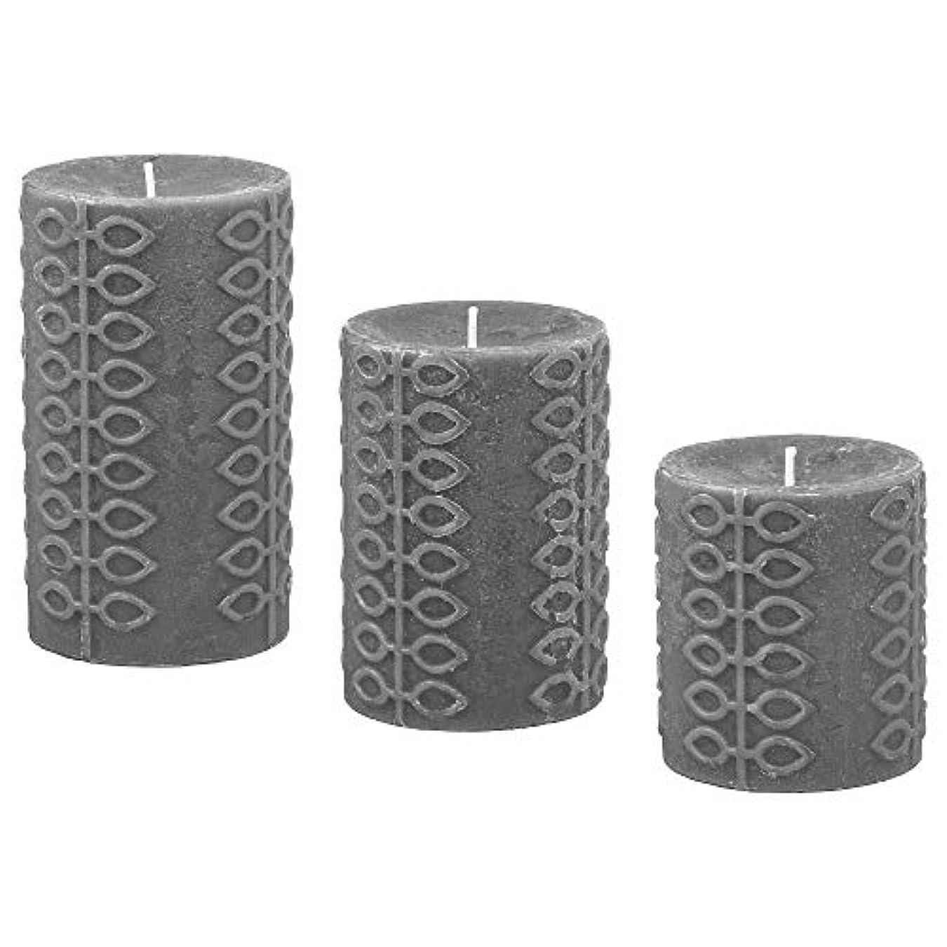 教育学コットン美人IKEA/イケア NJUTNING:香り付きブロックキャンドル3個セット 花開くベルガモット/グレー(303.505.15)