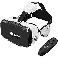 Gooice 3D VR ゴーグル VRイヤホンメガネ 3D 動画 ゲーム 映画 超3D映像効果 4.7~6.2インチ iPhone x 6/7/8 plus,SONY, SHARP, HTC, Samsungなどのスマホ対応(Bluetoothリモコン付属)