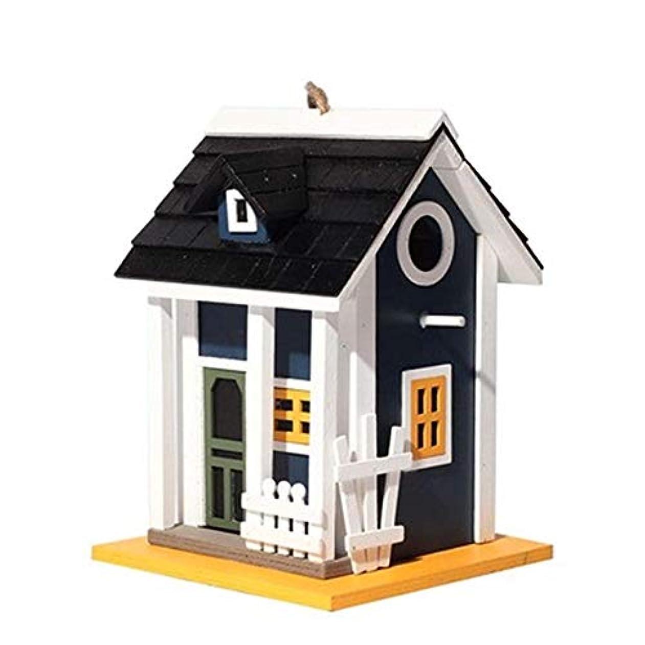 著名な守銭奴友情デコレーションハンギングガーデンコテージバードフィーダー二層コートヤードキャビンクリエイティブスティープルウッドバードハウスアウトドア 屋外の装飾 (Color : Black, Size : Free size)