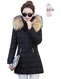 【ユウエ】ダウンコート レディース ダウンジャケット 中綿コート ロング丈 フード脱着可 ファー付き 可愛い 018-llg-8801(M ブラック )