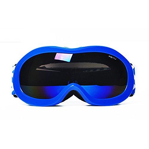 スキーゴーグル スノボゴーグル ダブル球面レンズ UV400紫外線カット 軽量 メガネ対応 曇り止め すべり止め ヘルメット対応 3層スポンジ スノーボード スキー・登山・アウトドア 男女兼用 子供 大人155-187 (子供 ブルー)