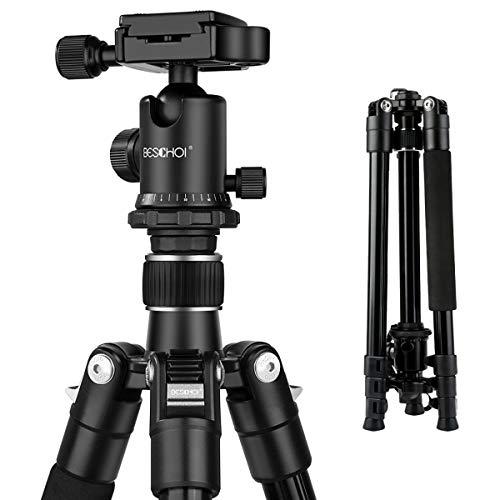 Beschoi 三脚 4段 軽量 コンパクト 自由雲台 デジタルカメラ 一眼レフ用 アルミ合金製 クイックシュー式 レバーロック 水平器 折り畳み可能 運動会 登山 トラベル用 M234-23mmパイプ径