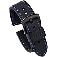 22mm Quick Release Silicone Watch Strap for Samsung S3 Classic & Frontier Replacement Watch Band Black(Blue Stitching Black Buckle)