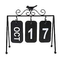 カレンダー 卓上 インテリア 置物 頑丈 雑貨 木製 カレンダー インテリア プレゼント 全3色 - ブラック
