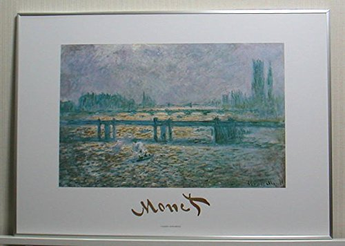 クロード・モネ *チャリング・クロス橋 【ポスター+フレーム】約51 x 71 cm ブラック