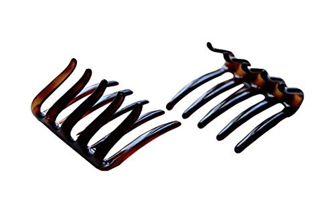 サイトラインソーダ水雄弁Parcelona French Crab Interlocking Medium Celluloid Shell Hair Clip Side Comb 2 1/4 Inches [並行輸入品]