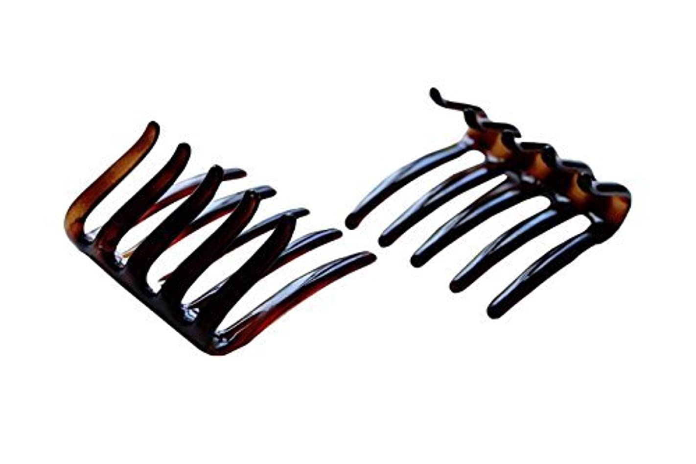 Parcelona French Crab Interlocking Medium Celluloid Shell Hair Clip Side Comb 2 1/4 Inches [並行輸入品]