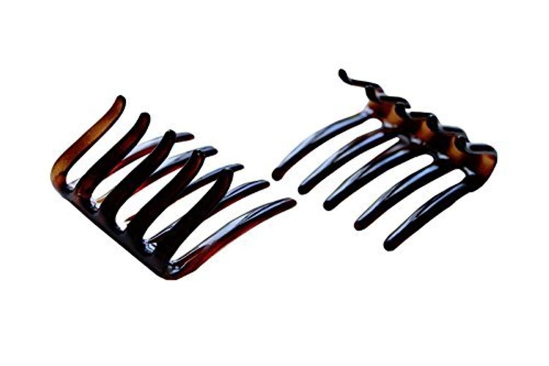前書き逃れるミスペンドParcelona French Crab Interlocking Medium Celluloid Shell Hair Clip Side Comb 2 1/4 Inches [並行輸入品]