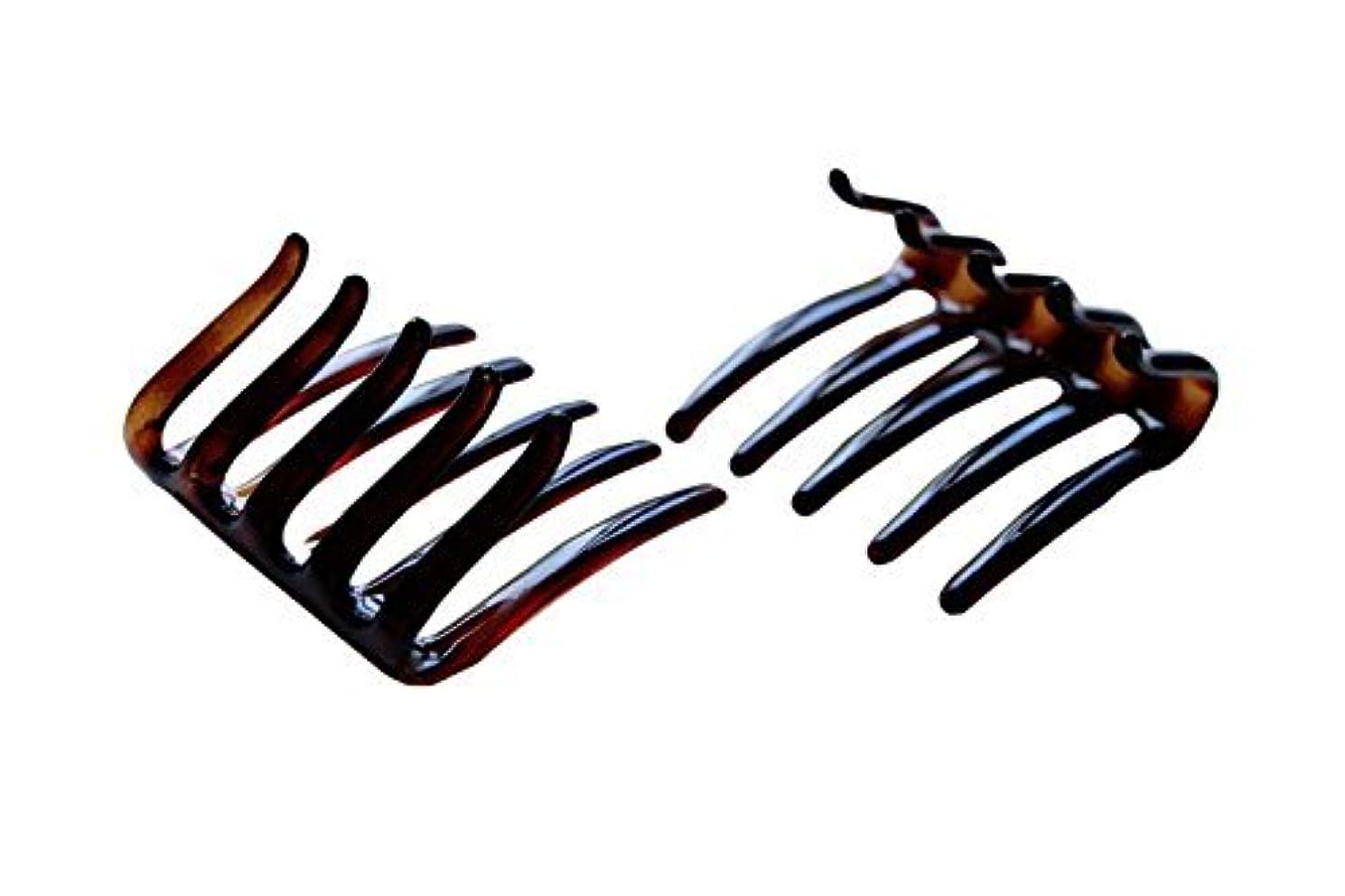 不快な袋シャックルParcelona French Crab Interlocking Medium Celluloid Shell Hair Clip Side Comb 2 1/4 Inches [並行輸入品]