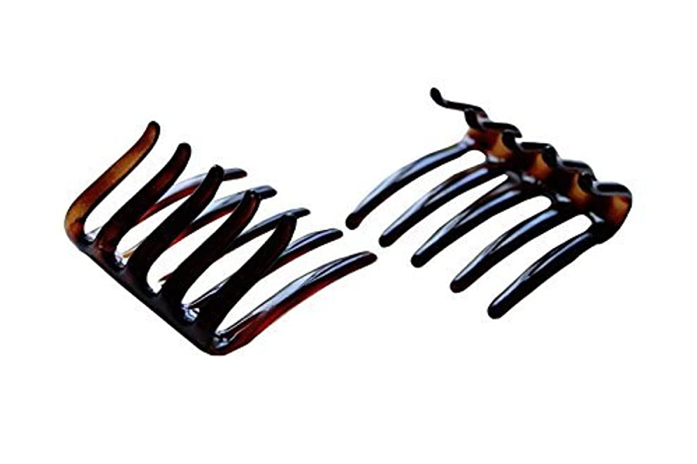 チーター雇う誰でもParcelona French Crab Interlocking Medium Celluloid Shell Hair Clip Side Comb 2 1/4 Inches [並行輸入品]