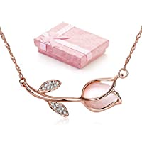 Woman Rose Gold Chain Necklaces Tulip Flower with Opal Stone Crystal Pendant Necklace [並行輸入品]