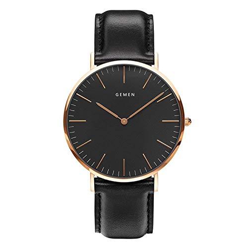 腕時計 メンズ 超薄型7MM ククラッシー 本革製のブレスレット 日本製クォーツムーブメント 40mm黒色文字盤 ...