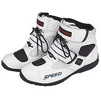 RaiFu レーシングブーツ バイク用ブーツ ソフト バイカー 防水 モーターボート メンズ モトクロス ノンスリップ すべり止め 靴 ホワイト 7.5