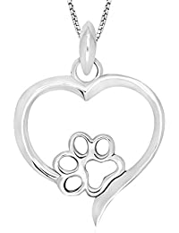 925 Sterling Silver Dog Paw Print Heart Pendant Necklace 18