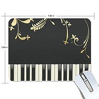 Anmumi マウスパッド 滑り止め ピアノ キー 音楽 花柄 ブラック 黒 19×25cm ゲームに適用 かわいい オシャレ レディース メンズ 子供 ゴム 実用性 パソコン対応