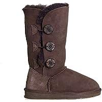 UGG Boots Tall Button Pull on Premium Australian Sheepskin Womens Mens Shoes Chocolate