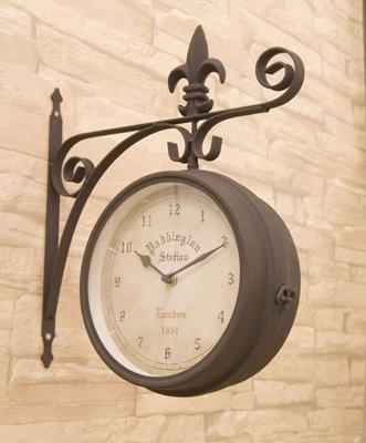 洋風 アメリカン 壁掛式 両面クロック ブラウン (L) 掛け時計 アンティーク風