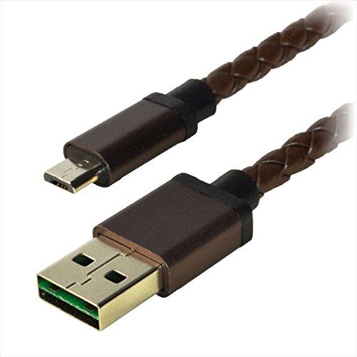 オウルテック microUSBケーブル本革 USB両挿し仕様 20cm OWL-CBJD2LMU-BR