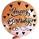 Lumierechat バルーン 風船 ステッカー シール メッセージ 文字入れ クリアバルーン バルーンアート 誕生日 結婚式 おまけ 1枚 a-9576(Happy Birthday ハート/ブラック)